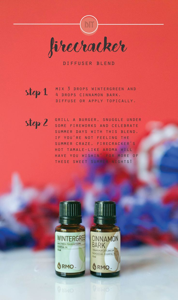 Cinnamon Bark and Wintergreen combine to make this season's favorite spicy essential oil blend, Firecracker! Grill a burger, snuggle under some fireworks and celebrate summer days with this hot tamale-like essential oil blend. It will have you wishing for more of these sweet summer nights!  Enjoy 10% off these oils!
