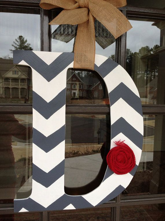 Front Door Initial Wood Hanger by KnockinOnWood on Etsy, $40.00