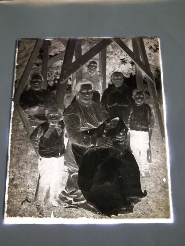 """VINTAGE 5"""" x 4""""  GLASS PLATE PHOTO NEGATIVE - FAMILY with BABY  - #54"""