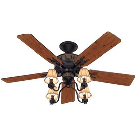 Hunter�Adirondack 52-in Brittany Bronze Downrod or Flush Mount Ceiling Fan with Light Kit