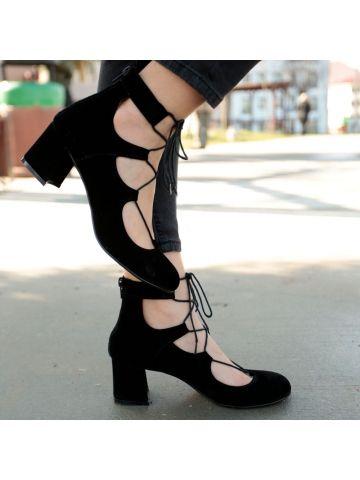 Siyah İpli Kısa Topuklu Ayakkabı - Fotoğraf 1