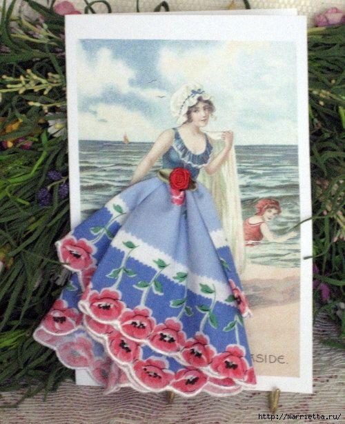 Ребенка, винтажные открытки с дамами из носовых платков