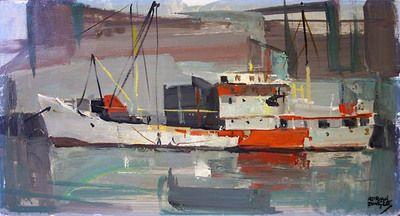 "Red and Grey Gloucester Harbour, 1965. Oil on panel. 8"" x 16""."