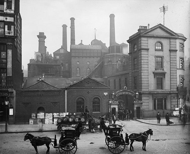 1906 view of Meux's Horseshoe Brewery at 319 Tottenham Court Road, where the Dominion Theatre stands today. The London Beer Flood disaster took place here in 1814, when one of the enormous vats collapsed and 323, 000 gallons of beer flooded the entire area resulting in 9 deaths: 8 by drowning or falling debris and another the following day, by alcholic poisoning.
