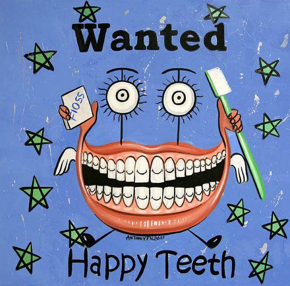 Heureux de dents imprimer Art dentaire Collectable dent dentiste Anthony Falbo