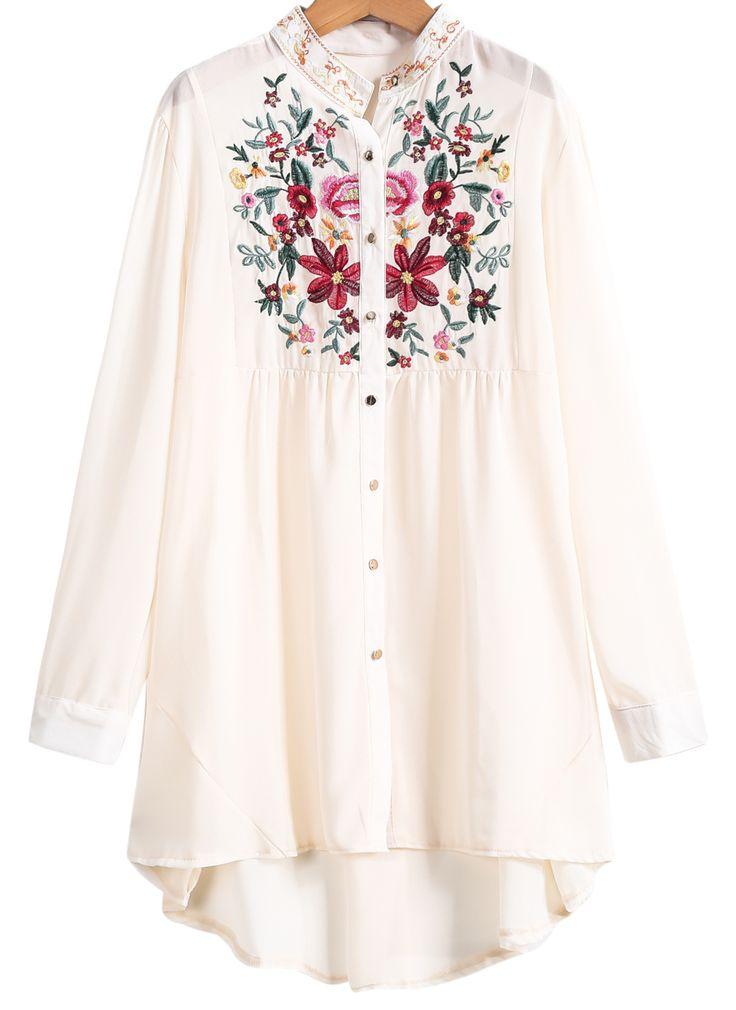 Blusa bordada manga larga-crudo 22.91€ SheIn