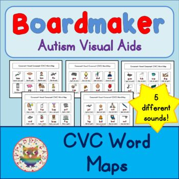CVC Word Maps - Boardmaker Visual Aids for Autism PECS