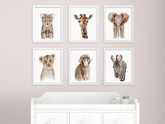 Afrikaanse Baby dier, kwekerij afdrukken instellen, Safari kwekerij kunst wordt afgedrukt, dierlijke kunst, babyolifant, Giraffe, aap, Cheetah, Leeuw, Zebra