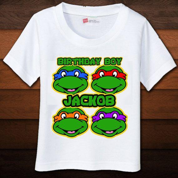 Tmnt birthday shirt custom by beansandricedesigns on etsy for Where can i buy ninja turtle shirts