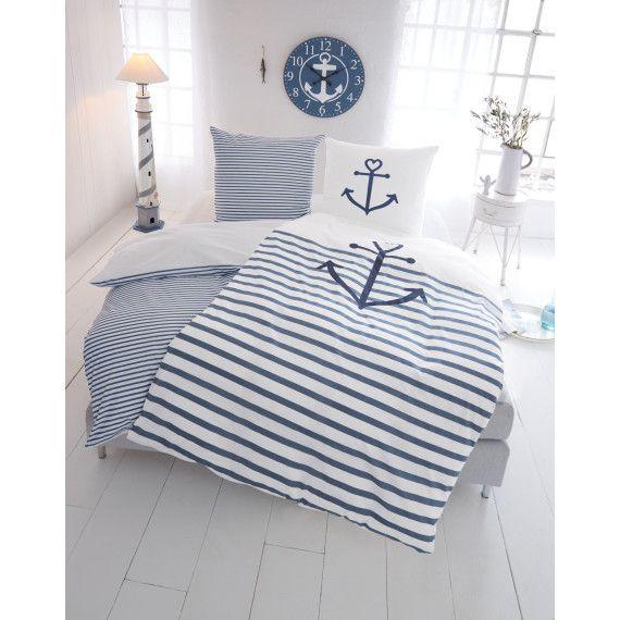 Wendebettwäsche Anker Reißverschluss Bettwäsche