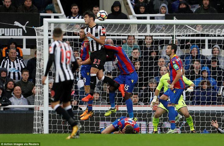 Mikel Merino rises highest above James McArthur and Jeffrey Schlupp to head past Julian Speroni and score the winning goal