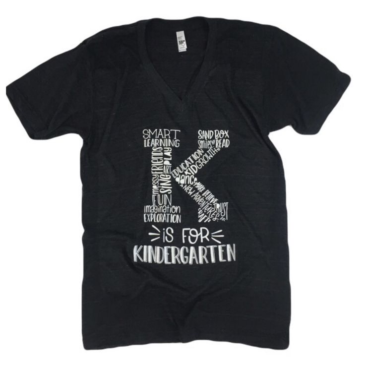 """PLEASE NOTE: THESE ARE A UNISEX FIT + WOMEN MAY PREFER TO SIZE DOWN """"A great teacher takes a hand, opens a mind, and touches a heart"""" You will love our new Kindergarten tees! They are perfect for any"""