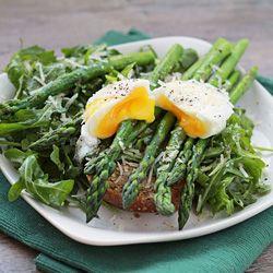 Roasted asparagus & arugula salad with a poached egg and toast ...