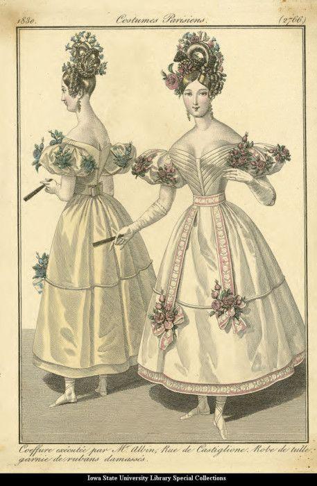 1830. Evening dresses, France.