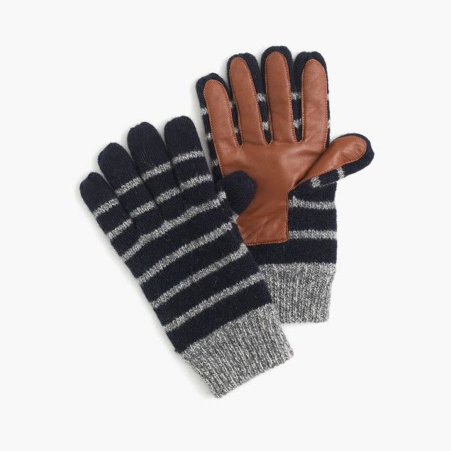 Striped wool smartphone gloves $50