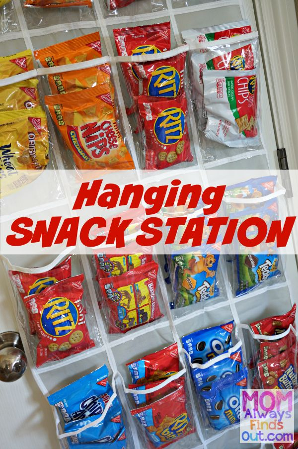 How To Create a Hanging Snack Station - Organize Back-To-School Snacks in the pantry with a see-through Over-the-Door Organizer. #PackSnacksTheyLove #ad
