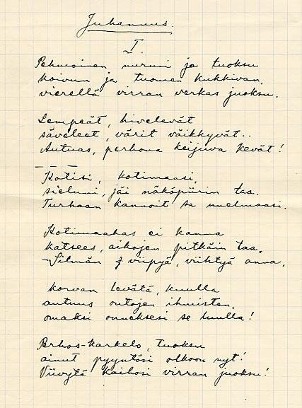 SKS vuotuisjuhlat. Juhannus. Juhani Siljo: Juhannus. Julkaistu kokoelmassa Maan puoleen, 1914. Kirjallisuusarkiston kokoelmat.