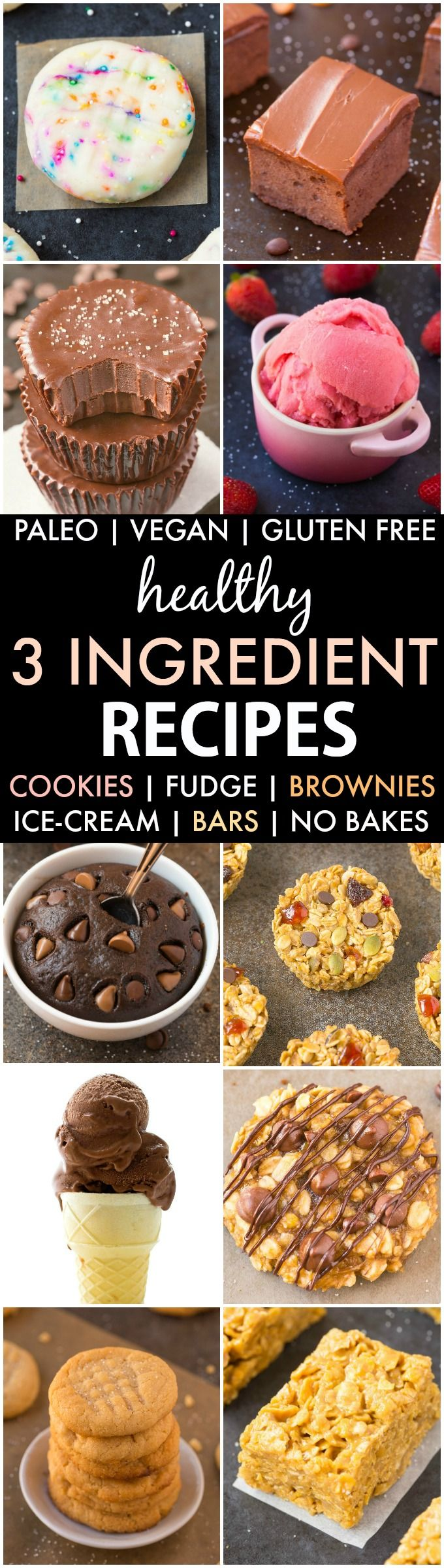 Healthy 3-Ingredient Recipes (V, GF, P, DF)- Quick, easy and guilt-free desserts, snacks and treats which use just three ingredients and use wholesome, clean ingredients! {vegan, gluten free, paleo recipe}- thebigmansworld.com