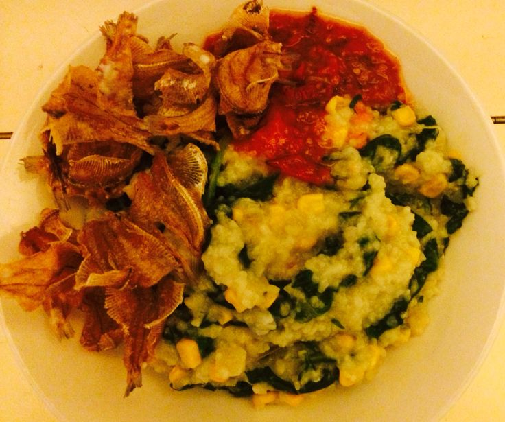 Bubur manado , with crisp zalty fish n sambal tomat