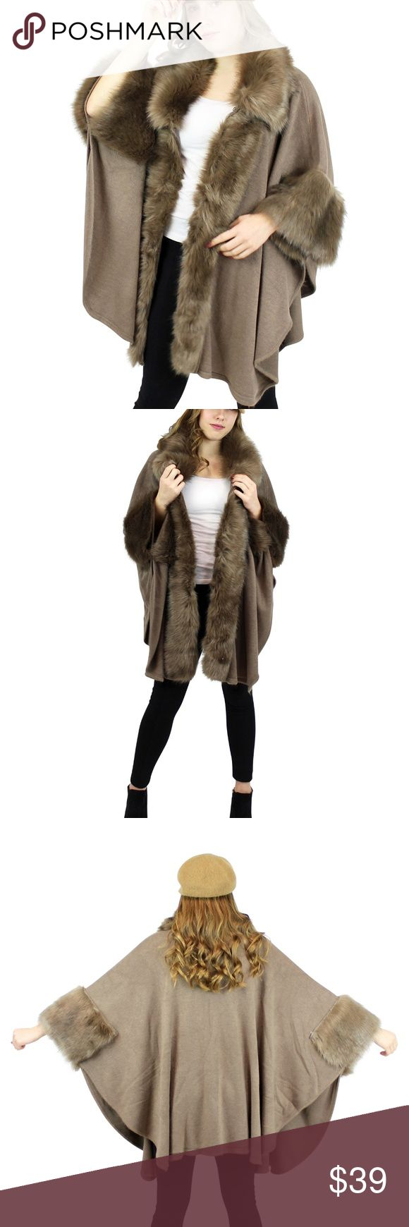 """Soft Faux Fur Trimmed Cape Open Front Wrap Great for that night out or ice skating. Simply elegant and luxurious wrap! This elegant, luxurious and cozy-soft wrap is designed to drape your shoulders with warmth on those chilly mornings and evenings. It brings a stylish finishing touch to any outfit. A look that never goes out of style. One size fits most up to XL. Asymmetrical hem.Dimensions: 34""""L in the back, 21""""W front flip, 26""""L front faux fur.Material: 100% acrylic Jackets & Coats Capes"""