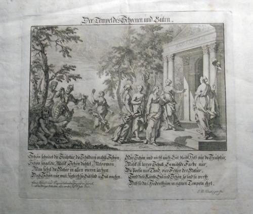1751 EINBLATTDRUCK BROADSHEET - Mythology DER TEMPEL des SCHOENEN und GUTEN…