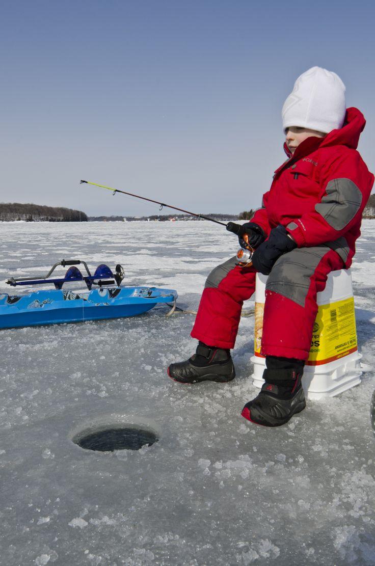 Ice fishing on Rice Lake