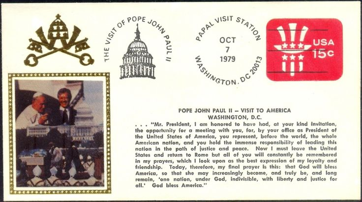 USA 1979 Silk Cover Pope John Paul II Visit to America Oct 7 Washington DC…