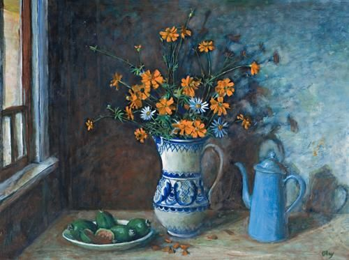 Still Life with Flowers in a Blue and White Jug, 1975