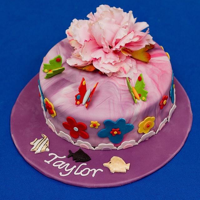 A butterfly, flower and tropical fish Vanilla-Buttermilk birthday cake for Taylor