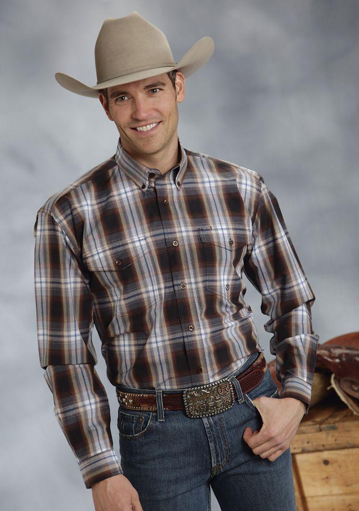 Roper Mens 9353 Hawthorne Plaid - Flat Weave Amarillo Chocolate Diamonds Group Long Sleeve Shirt Button Closure - 2 Pocket
