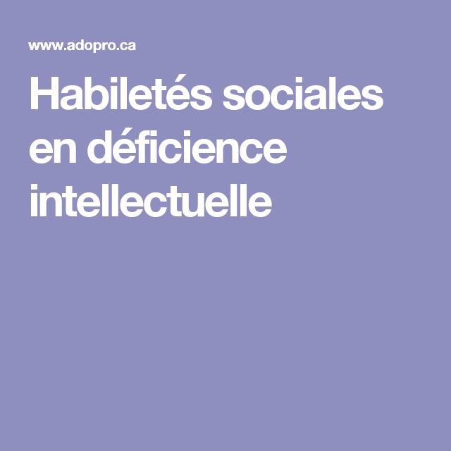 Habiletés sociales en déficience intellectuelle