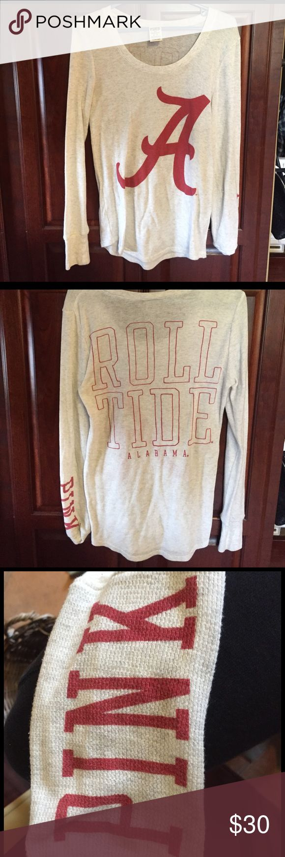 "PINK Alabama shirt Alabama logo on front. It says ""Roll Tide"" on back. It also says ""PINK"" on the wrist of the left arm sleeve. Size medium! PINK Victoria's Secret Tops Tees - Long Sleeve"