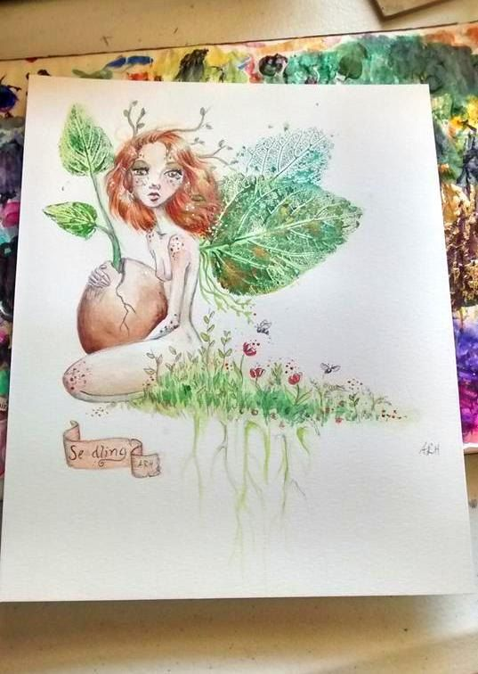Fairy painting- Faerie holding a seed print Title, Seedling Seedling is available as either a 5x7 or 8x10 print. It is part of a series of seedling fairy paintings inspired by nature, simplicity and growing things. The leaf prints are from wild mint. Your print: Has a white border