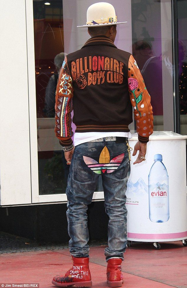 Always in style: The entertainer sported gear from his Billionaire Boys Club line, pants from his collaboration with Adidas, and red Chanel combat boots