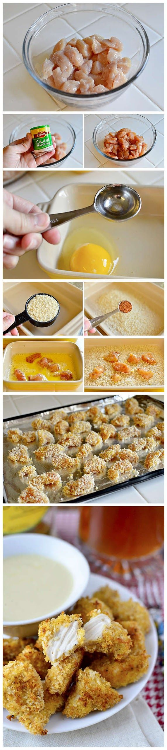 Baked Popcorn Chicken Ingredients 1lb chicken breasts, cut into bite-sized pieces salt & pepper Cajun seasoning 2 eggs 2 Tablespoons water 1-1/2 cups panko bread crumbs 3/4 teaspoon Cajun Seaso...