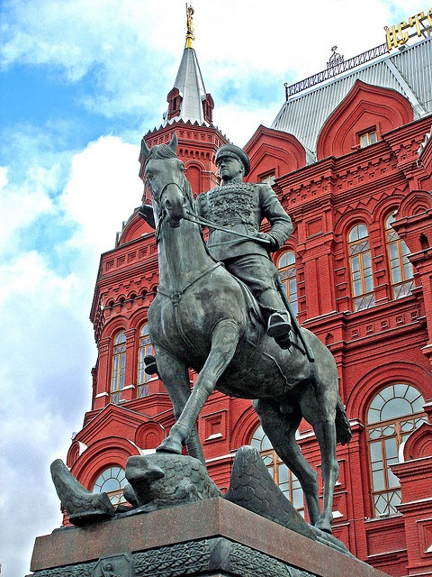 Zhukov Statue in front of the State Historical Museum, Red Square, Moscow.
