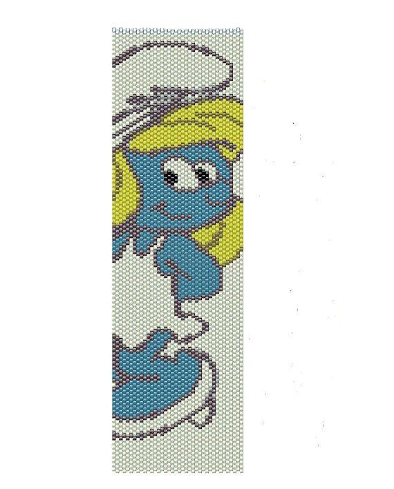Smurf peyote pattern seed beads peyote cuff by BeadingWonders, $3.50