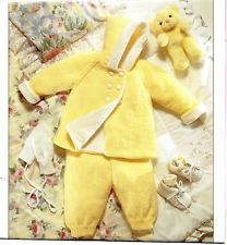 """vintage 16-20"""" chest Coat Trousers Mitts Baby/doll/reborn Knitting Pattern in DK for sale in my eBay shop dollie.daydreams"""
