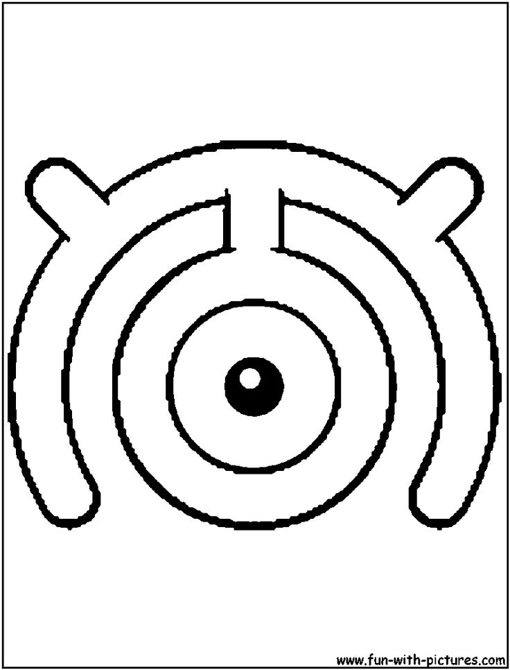 Unown M Coloring Page