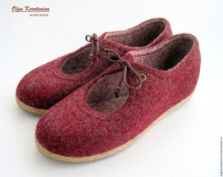 """Купить Валяные туфли """"Прогулка по Бордо...."""" - бордовый, валяные туфли, валяная обувь, балетки"""