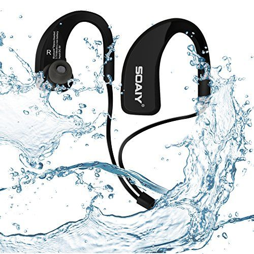 Soaiy Waterproof Sweatproof Sports Wireless Bluetooth 4.0 HD Stereo Headphones, In Ear Earphones Noise Canceling Headset with Mic, Earbuds for Running Jogging Hiking Workout Gym and Exercise (BK&BK)