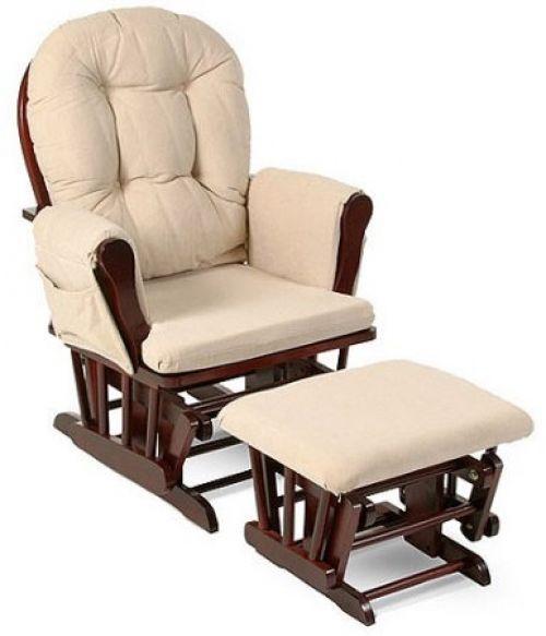 Nursery Rocking Chair Baby Rocker Glider Ottoman Beige Cushions Wooden Furniture…