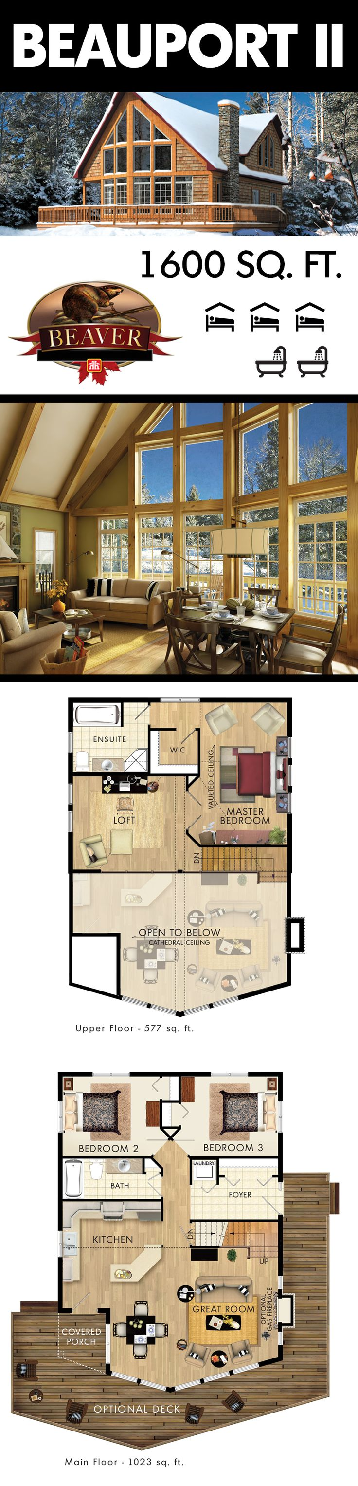 The Beauport II is perfect as a #family summer #home or even a winter chalet. #BeaverHomesandCottages