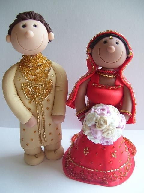 Traditional Indian Wedding Cake toppers. Fully personalised from polymer clay.