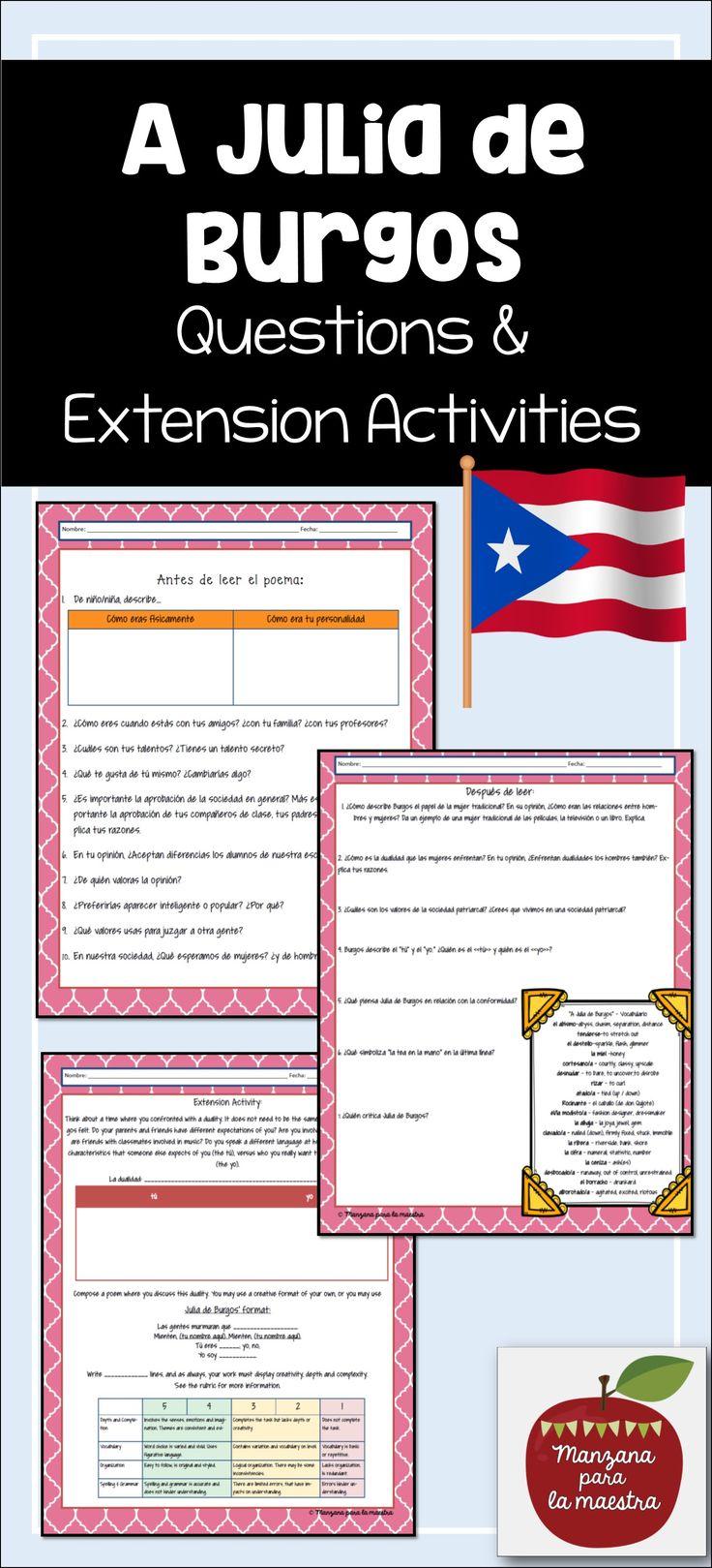 A Julia de Burgos Editable Reading Comprehension Activity ...