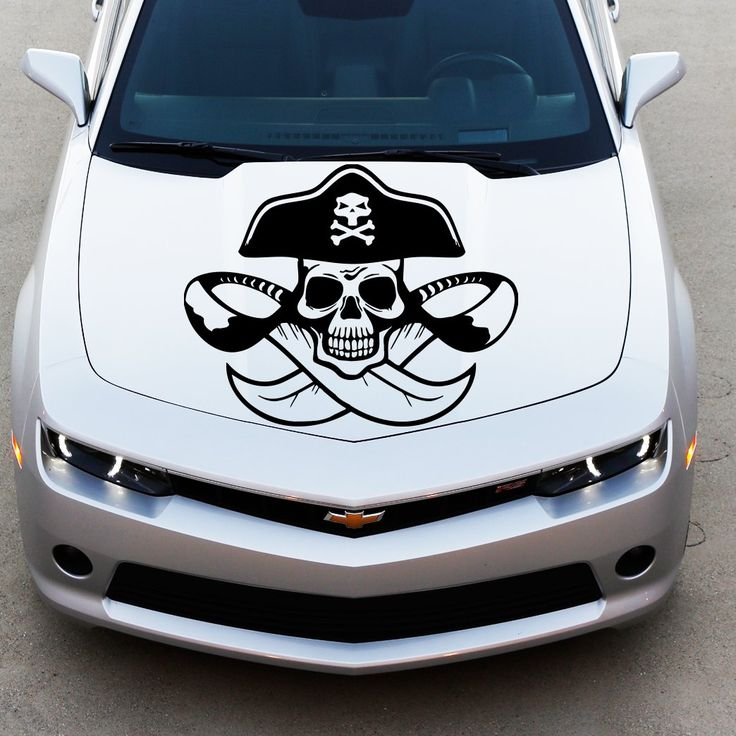 Amazon com car decals hood decal vinyl sticker pirate skull bones swords auto decor
