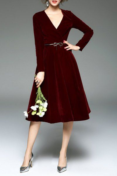 Sfeishow Burgundy Velour Surplice Dress | Midi Dresses at DEZZAL
