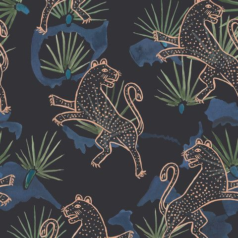 Leopard Palm Wallpaper. Night