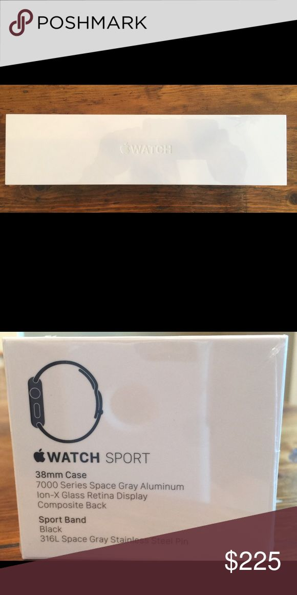 Apple Watch and Band 1st Generation Apple Sport Watch,  38 mm Case, 7000 Series, Space Gray Aluminum with Black Sport Band. Never opened or used - brand new and still sealed in box. Accessories Watches