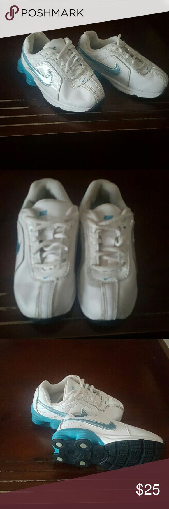 Blue and White Girls Nike Shox  size 6C In great condition girls nike shoxs. Only worn once these cute shoes are blue and white Nike Shoes Sneakers